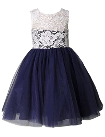6fae9dc930f2e Thstylee Lace Tulle Flower Girl Dress Little Girl Toddler Kids Wedding  Dresses Size US 1T Navy