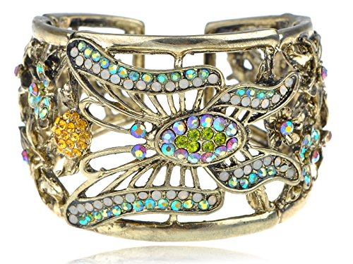 Alilang Multi-Color Antique White Opal Synthetic Peridot Synthetic Topaz Rhinestones Butterfly Cuff