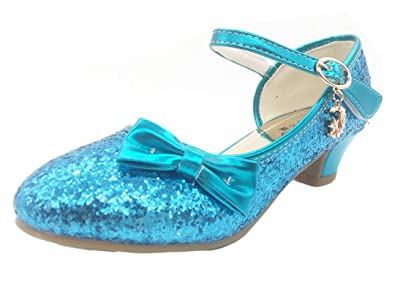 iDuoDuo Princess Sparkly Sequins Bow Heel Covered Sandals Girls Dress Pumps  Shoes Blue 1 M US 9a671026254d