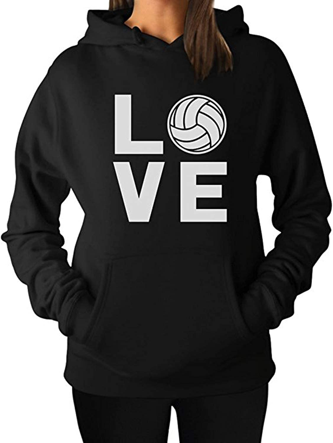 LELE Love Volleyball Unisex Boy Girl Youth Women Men Adult Pullover Hooded Pocket Hoodie Sweatshirt