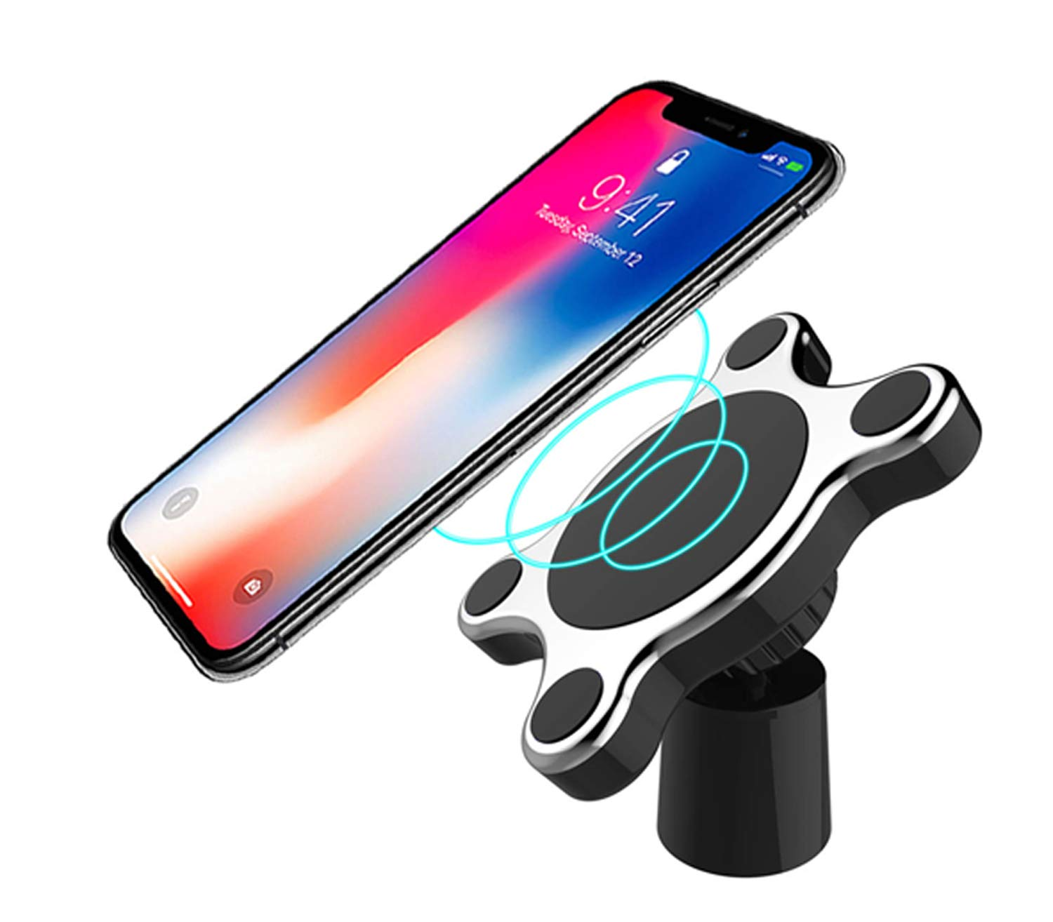Cafolo ~ Wireless Charger Car Mount Magnetic Cell Phone Car Cradle Wireless Fast Charger for Apple iPhone Samsung Nexus Qi Certified