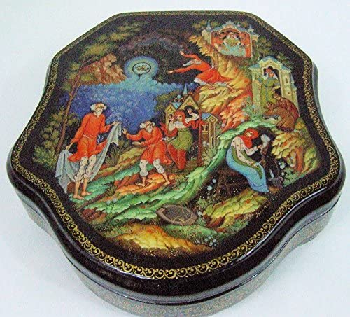 Poppy Summer Botany Cornflowers Hand Painted Russian Lacquer box mother of pearl Shell Fedoskino Field herbs and flowers