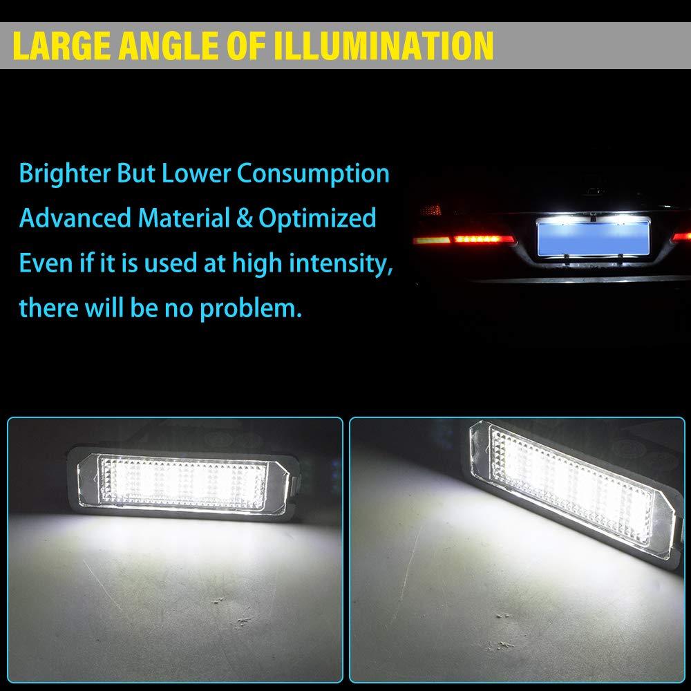 Safego Luci Targa a LED per Auto Lampada Targa 2835 SMD 6000K Xeno Bianco per B-M-W E87//E81//F20//E63//E64//F12//F13//Z4//E85 ecc 1 anno di Garanzia 2 Pezzi
