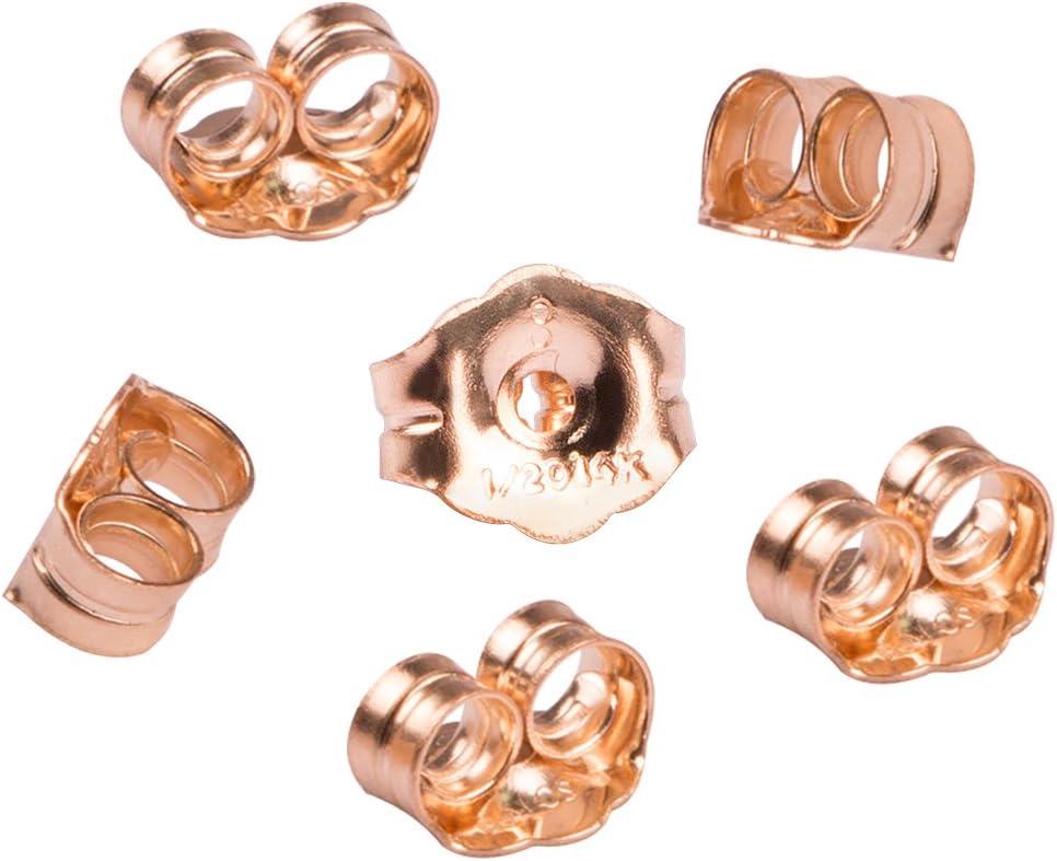 avec une pochette /à bijoux CCMart Lot de 6 fermoirs de boucles d/'oreille en or jaune 14 carat
