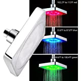 LED Rainfall Shower Head 6 Inch for Kids Bathroom EEPIRR Temperature Detected Low Water Pressure Square Shower Heads For Bathroom, Adjustable Wall Mount Luxury Fixed Showerhead