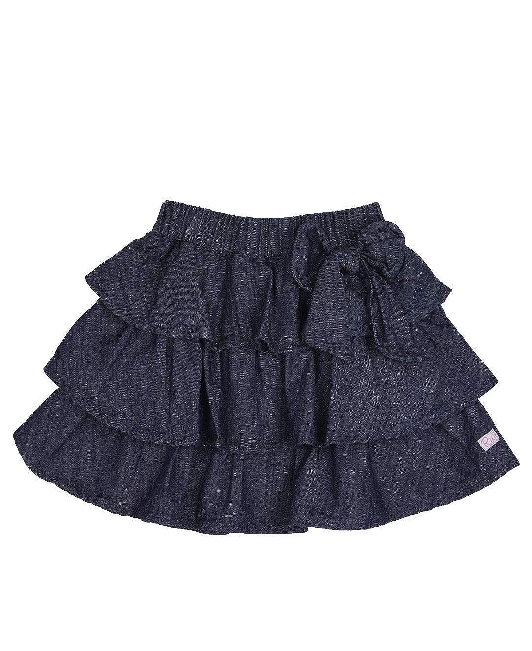 RuffleButts Baby//Toddler Girls Ruffled Denim Skirt with Bow SKDYYXX-BWSK-SC-BABY