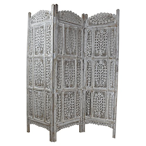 Indian Heritage Wooden Screen 20x72 Three Panel Mango Wood and MDF Cutout Design in White Distress ()