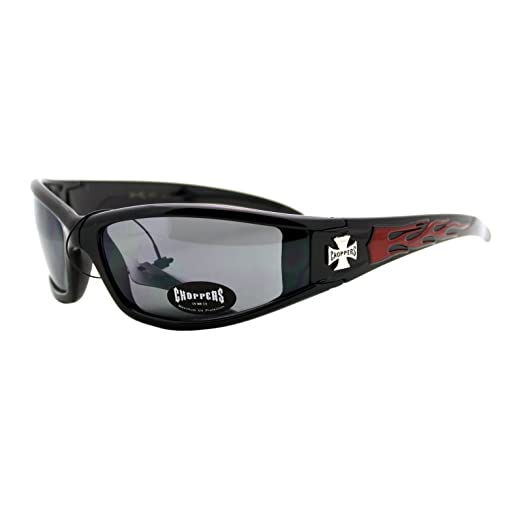 797f6092b29 Amazon.com  Choppers Sunglasses Motorcycle Wrap Biker Shades Black  Red  Flame  Clothing