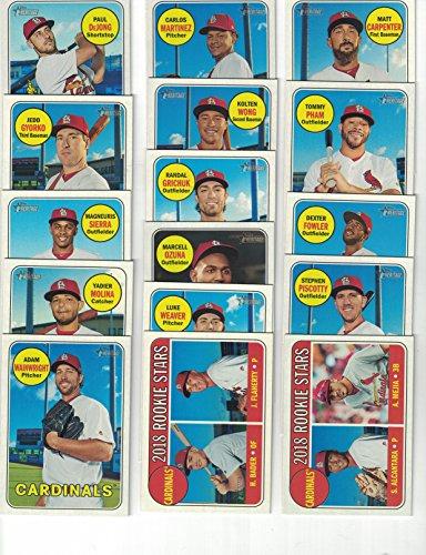 Saint Louis Cardinals / Complete 2018 Topps Heritage Baseball 16 Card Team Set! Includes 25 Bonus Cardinals Cards! (St Cards Louis Cardinals Baseball)
