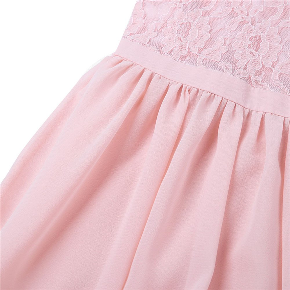 Girl Flower Dress Junior Bridesmaid Chiffon Lace Dress for Girl Wedding Party Casual Occasion