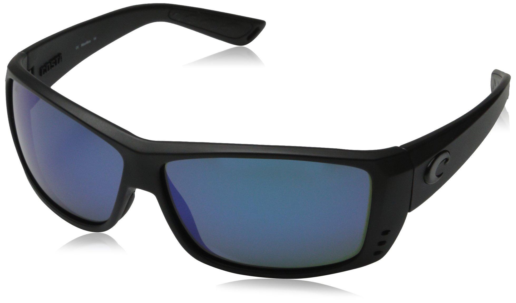 Costa del Mar Unisex-Adult Cat Cay AT 01 OBMGLP Polarized Iridium Wrap Sunglasses, Blackout, 60.9 mm by Costa Del Mar