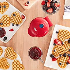 Craving blueberry waffles or potato pancakes? With the Dash mini waffle maker, you can make single serve dishes in less than three minutes. The nonstick surface allows you to perfectly cook and Brown whatever is it you make, and is a fun acti...