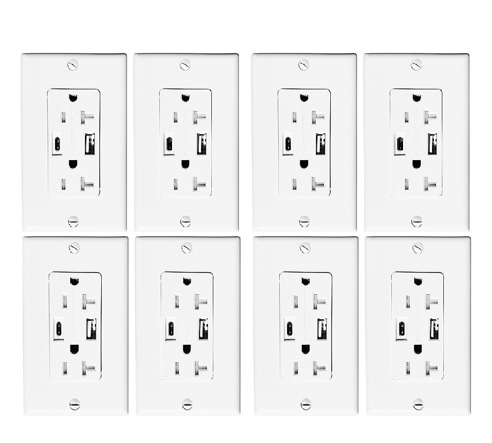 Adwits USB-C Wall Receptacle Outlet - 4.0Amp/5V/20W Smart Fast Dual USB (Type A + Type C) Wall Charger with 20Amp/125V/2500W Tamper Resistant Duplex Receptacle ETL Certified Safety, White (8 Pack)