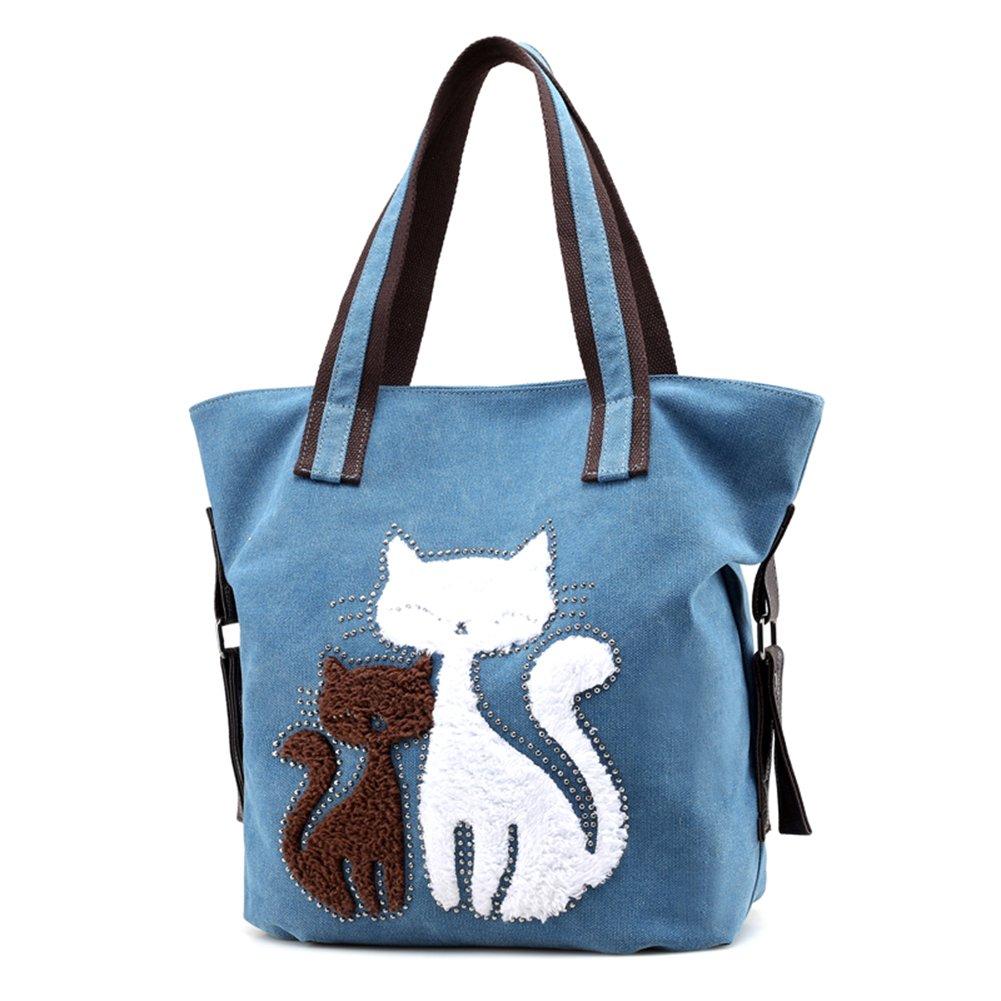 1c25e8a73c Amazon.com  Women Cat Canvas Shoulder Bag Canvas Purse Tote Shoulder Bag  Travel Beach Handbag Lady Retro Handbags Casual Tote Bag for Women Girls  Blue  ...