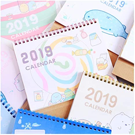 Amazon.com: LQT Ltd 2019 Cute Cartoon Calendar Agenda Weekly ...