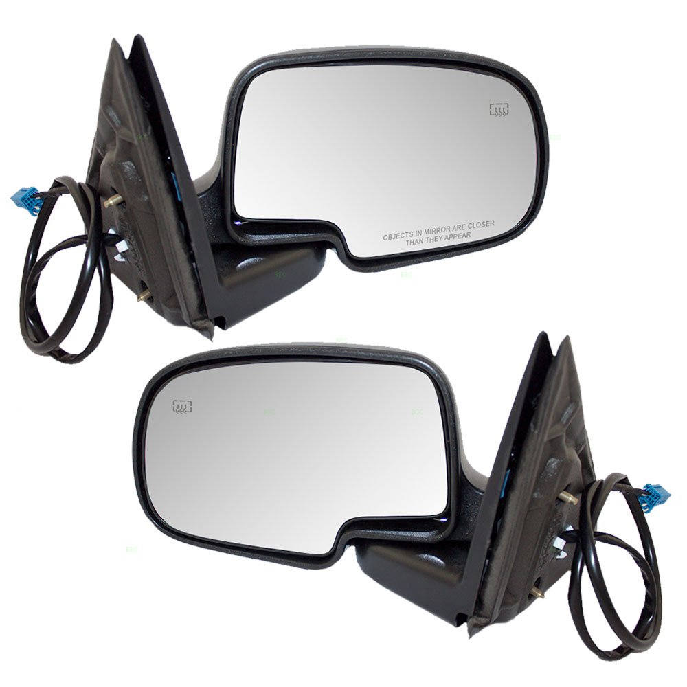 Driver and Passenger Power Side View Mirrors Heated Textured Covers Replacement for Chevrolet GMC Pickup Truck 15226944 15226945