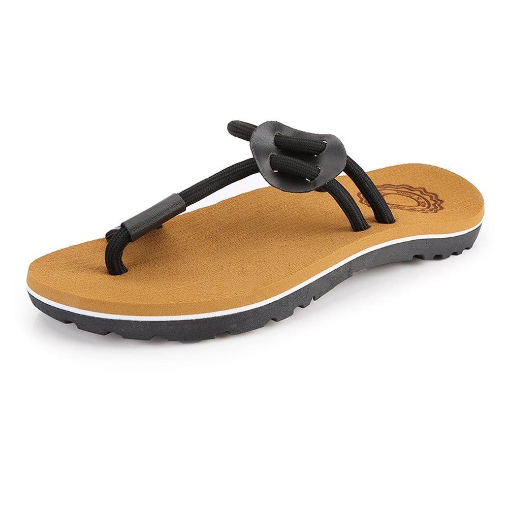 Zapatos de Chanclas Casuales de los Hombres Zapatillas de Playa de la Cuerda Sandalias Planas Suaves Antideslizantes Negro