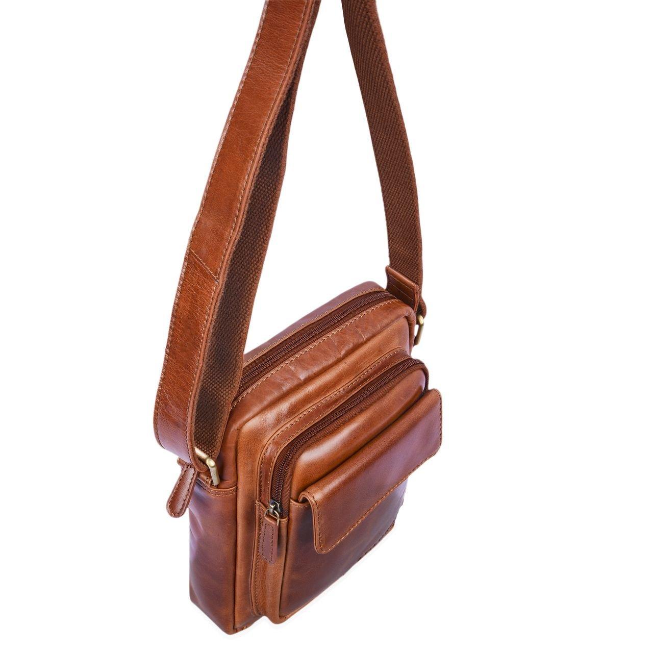 STILORD Jannis Sac en bandouli/ère Cuir Homme Petit Vintage Besace Sac Messager pour 9.7 Pouces iPad Tablette pc Sac /à l/épaule en v/éritable Cuir de Boeuf Brillant Couleur:Cognac