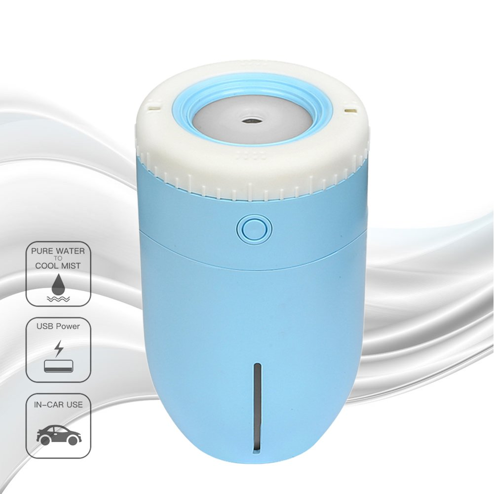 Mondeer USB Car Aroma Diffuser, Portable & Super Quiet Ultrasonic Aroma Cool Mist Humidifier, Auto Shut-off for Home, Office, Car Travel (Blue)