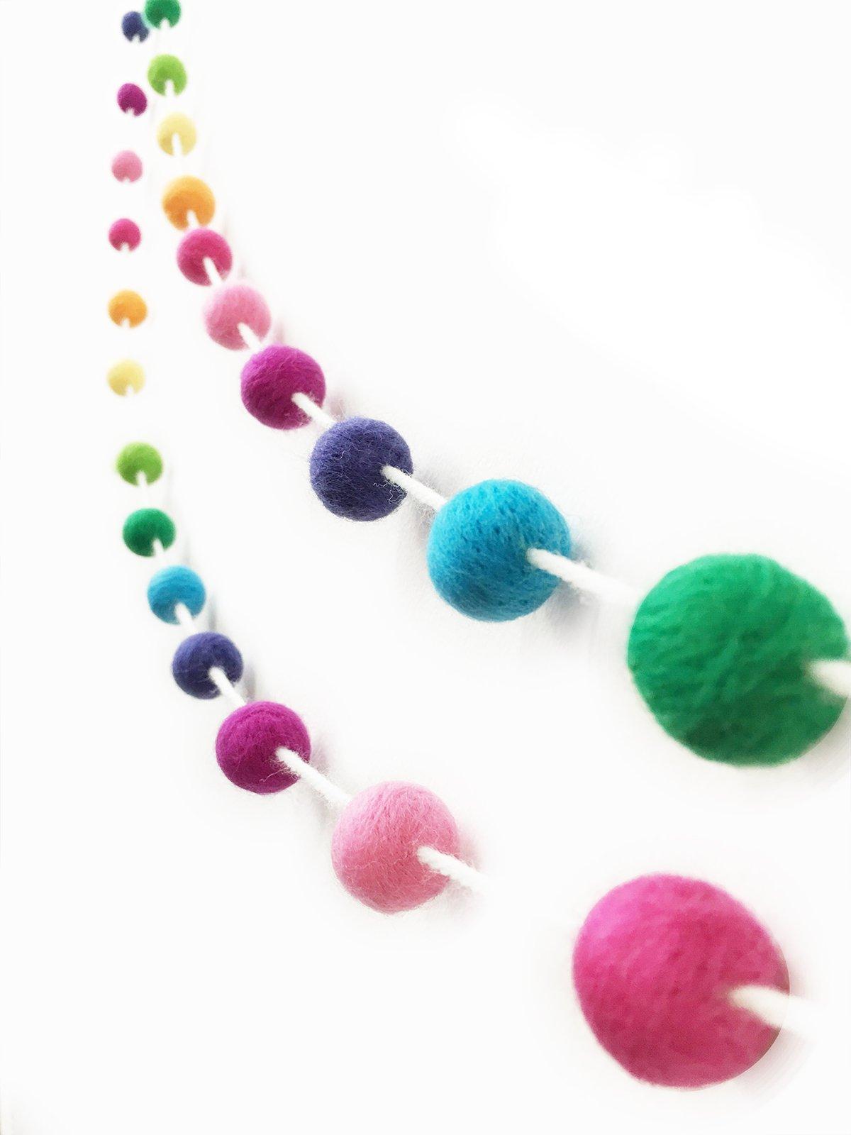 silk flower arrangements misscrafts felt ball garland 9.8 feet 100% wool roving pom pom garland 35 balls 20mm colorful for baby shower grand opening party festivals room decorations