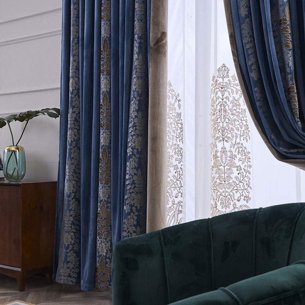 JUANstore Weichen Samt Blackout Vorhang Vintage Blume Bestickte Vorh/änge Bleistift Falte Vorh/änge,F/ür Schlafzimmer /& Wohnzimmer 2 St/ück,W100xL250cm