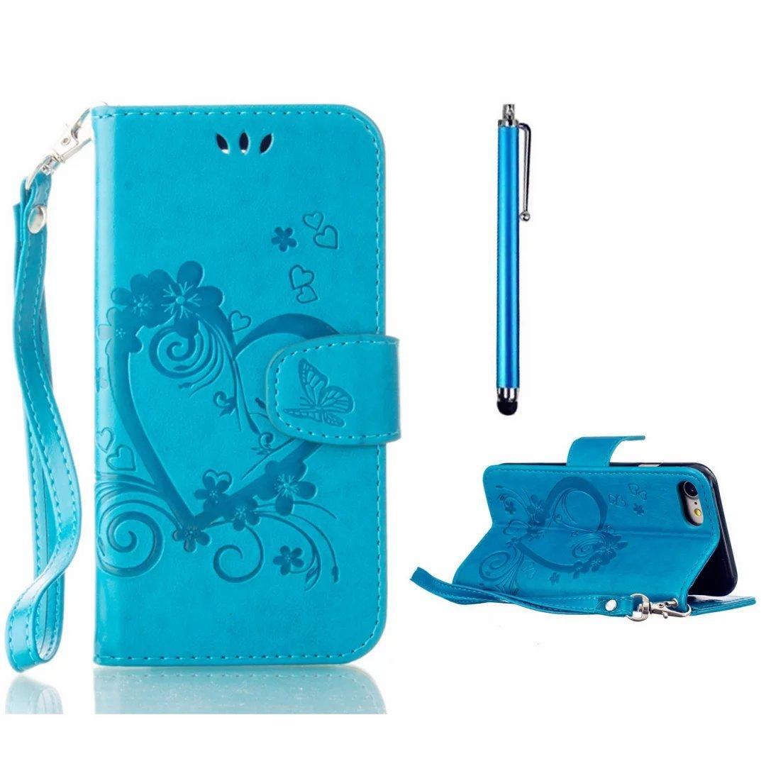 MUTOUREN Samsung Galaxy J1 (2016) SM-J120 Brieftasche Flip Case Cover - PU Leder Bookstyle Klapphülle Wallet Case für Samsung Galaxy J1 (2016) SM-J120 Portemonnaie Hülle Schutz Ultra Dünn Handy Tasche Geldboerse Schutzhülle - Blau Schmetterling + Metall S