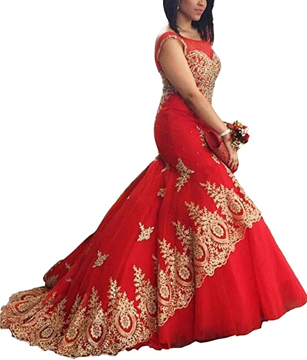 70550eea44 Mulanbridal Red Long Mermaid Evening Dress Formal Prom Gowns Gold Lace  Appliques Wedding Bridesmaid Dress 2