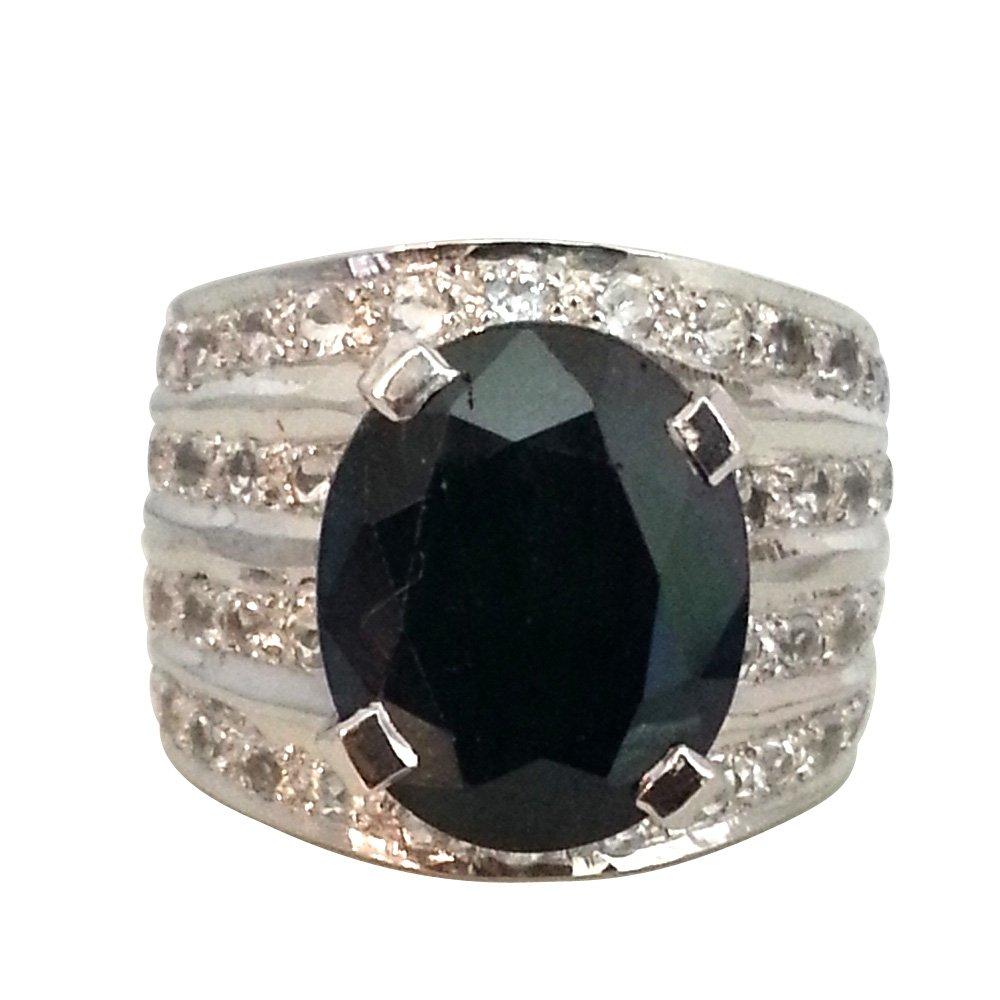 SURATDIAMOND 9.78 ct Dark Blue Sapphire & White Topaz Ring for Women (GSR10)