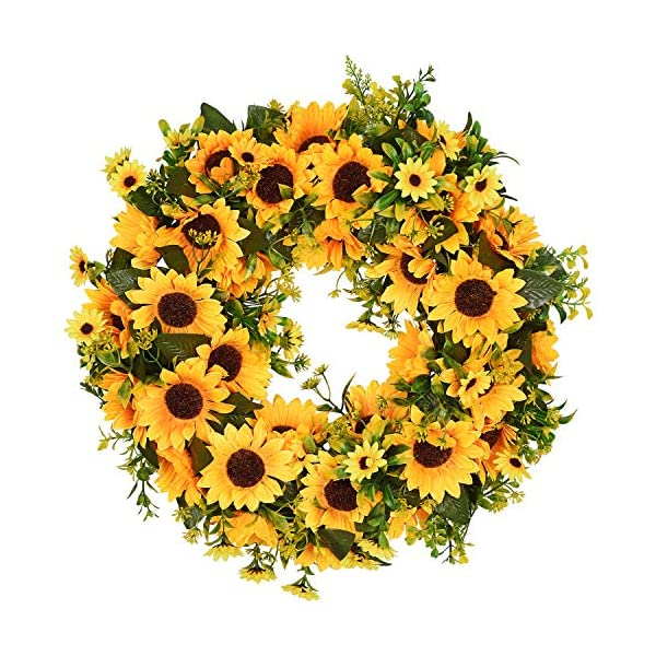 Lvydec Artificial Sunflower Summer Wreath – 16 Inch Decorative Fake Flower Wreath with Yellow Sunflower and Green Leaves for Front Door Indoor Wall Décor