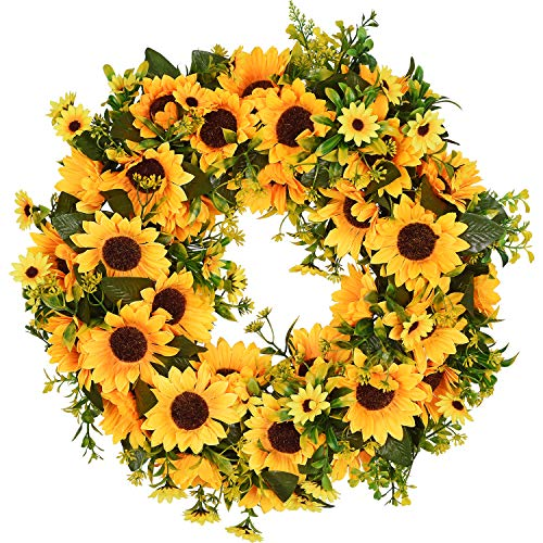 Lvydec Artificial Sunflower Summer Wreath - 16 Inch Decorative Fake Flower Wreath with Yellow Sunflower and Green Leaves for Front Door Indoor Wall Décor]()
