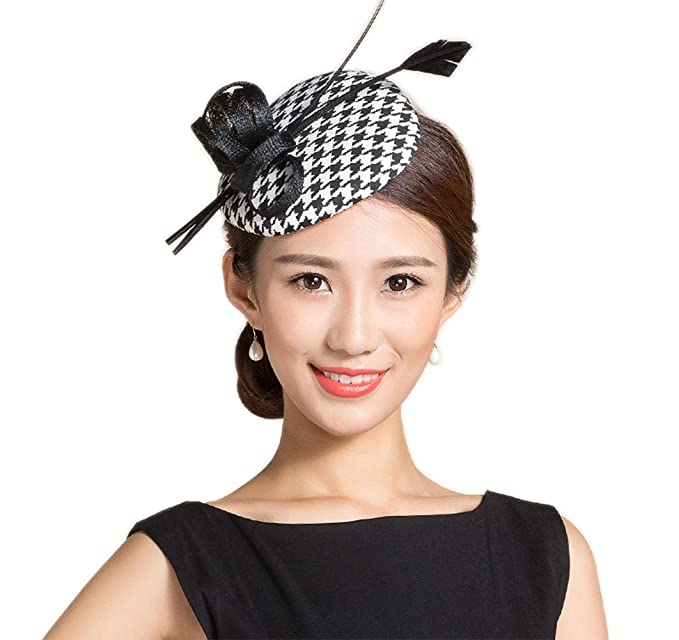 1950s Women's Hat Styles & History YSJOY Vintage Style Black White Houndstooth Grid Sinamay Feather Derby Hat $15.98 AT vintagedancer.com