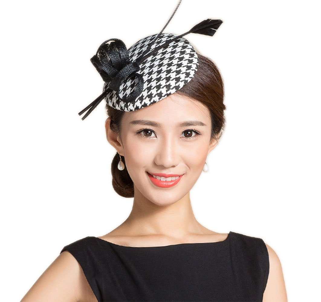 YSJOY Vintage Style Retro 60's Black White Houndstooth Grid Sinamay Feather Derby Hat Hair Clip Fascinator Top Hat Wedding Cocktail Tea Party Headwear Church Hair Accessory
