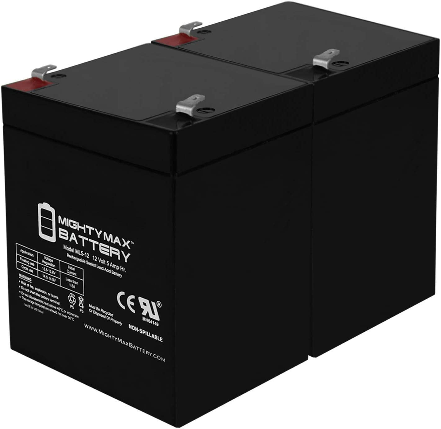 2PK New AB1250 12V 5Ah Scooter Battery Replaces 4.5Ah Enduring 6FM4.5 6 FM 4.5
