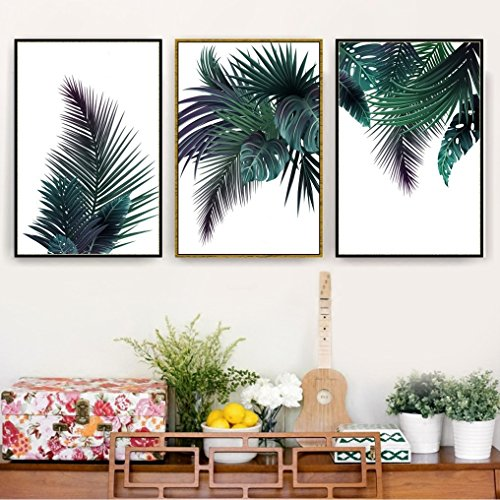 Trending Green Palm Tree Leaves Plant Print, Wall Art, Poster, Airbnb Home Decor. Sofa / Cafe / Office / Hotel Painting, Housewarming Gift. 3pcs. Unframed. (35 x 50 cm / 13.8 x 19.7 in) (Shop Banana Furniture Tree)
