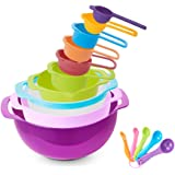 15 Piece Mixing Bowl Set with Handle, Nesting Colorful Measuring Cups Spoons Colander Mesh Strainer, BPA Free Plastic Stackable Nested Mixing Bowls Large Small Pour Spout Baking Cooking