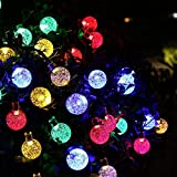 Qedertek Globe Solar String Lights Outdoor, 20ft 30 LED Fairy Crystal Lights Decorative Lighting for Outdoor, Home , Lawn, Garden, Patio, Party and Holiday Decorations (Multi Color)