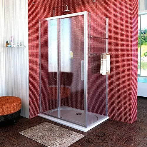 Cabina de ducha 140 x 70 cm, mampara de 140 x 70 x 200 cm (BxH), Puerta corredera con aspecto templado de pared, 3 piezas, 8/6 mm, Elox: Amazon.es: Bricolaje y herramientas
