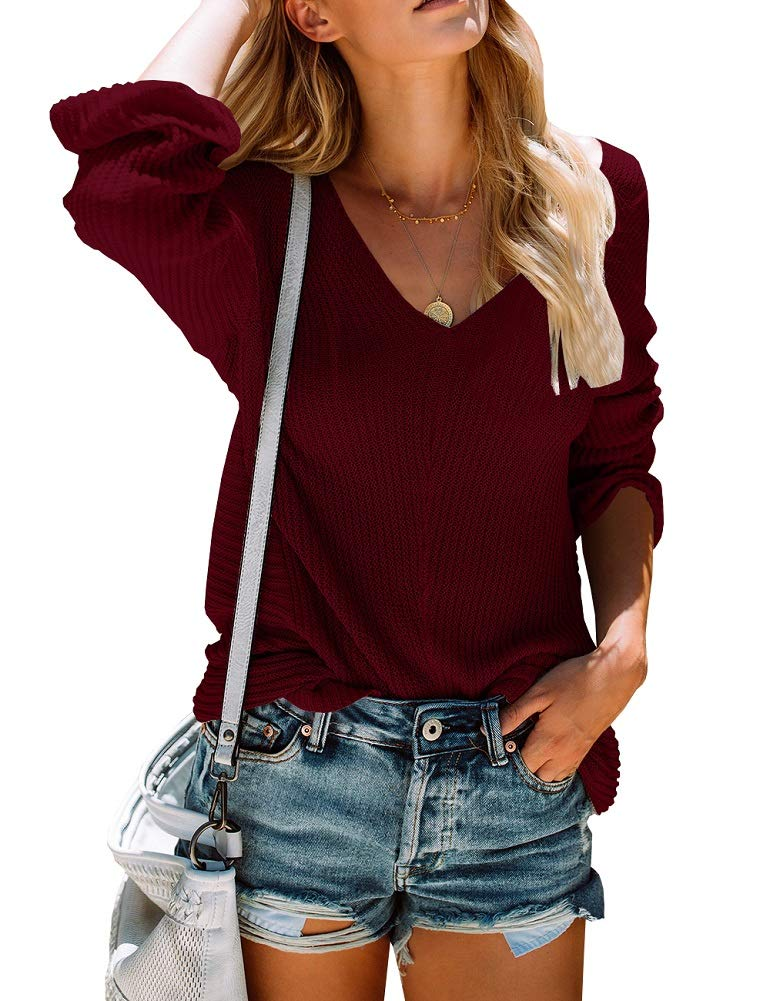 Womens Sweaters Off The Shoulder V Neck Long Sleeve Oversized Knit Pullover Jumper Tops