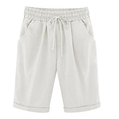 Casual Short Mi Long Taille Grande Laemilia Femme Loose Pantalon iOkuXTwPZl