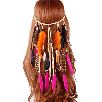 Bohemio Gitano Indio Pluma Peluca Diadema Pluma Hairband ...