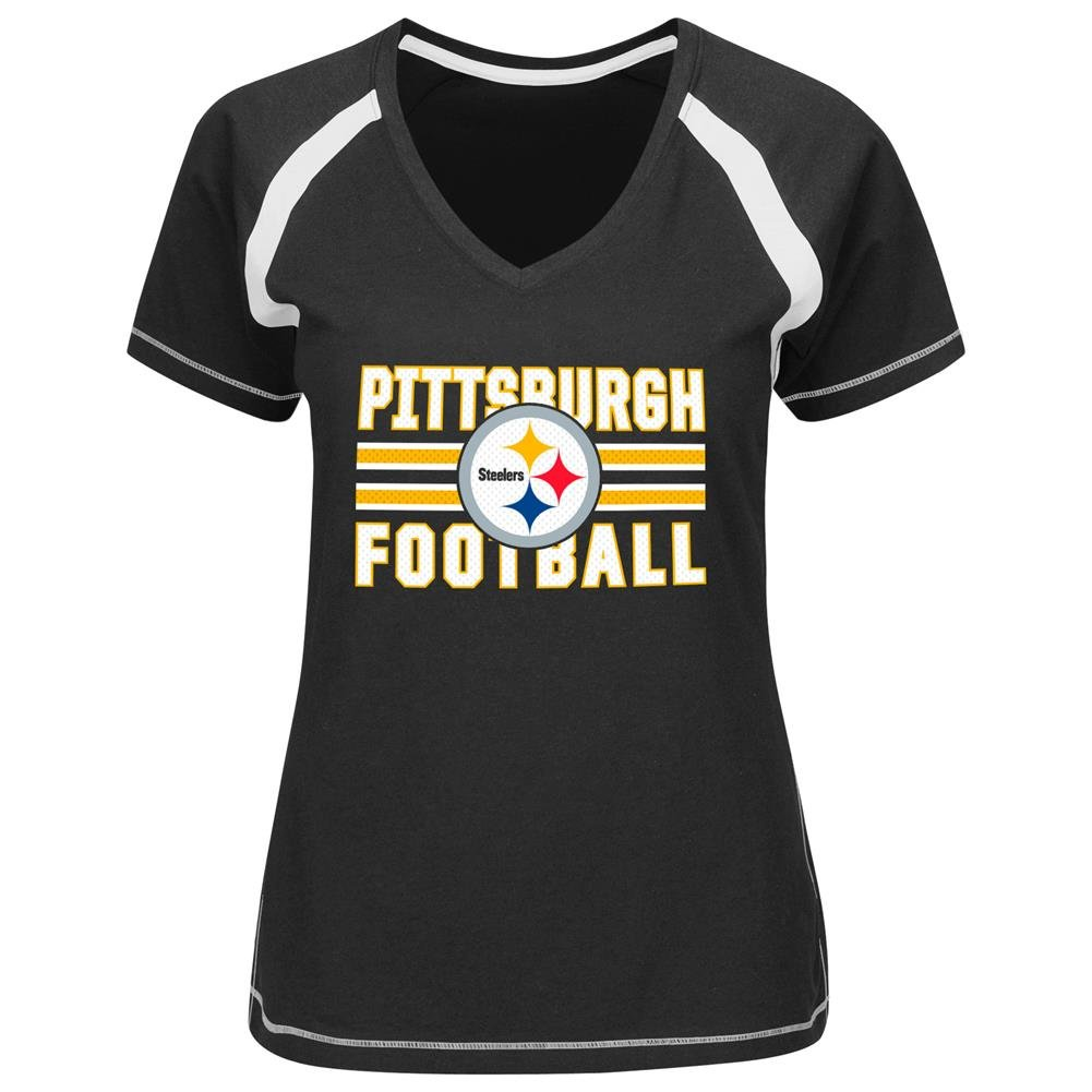 5d87d07df Amazon.com   Pittsburgh Steelers Womens Day Game Black V-Neck T-shirt  Medium   Sports   Outdoors