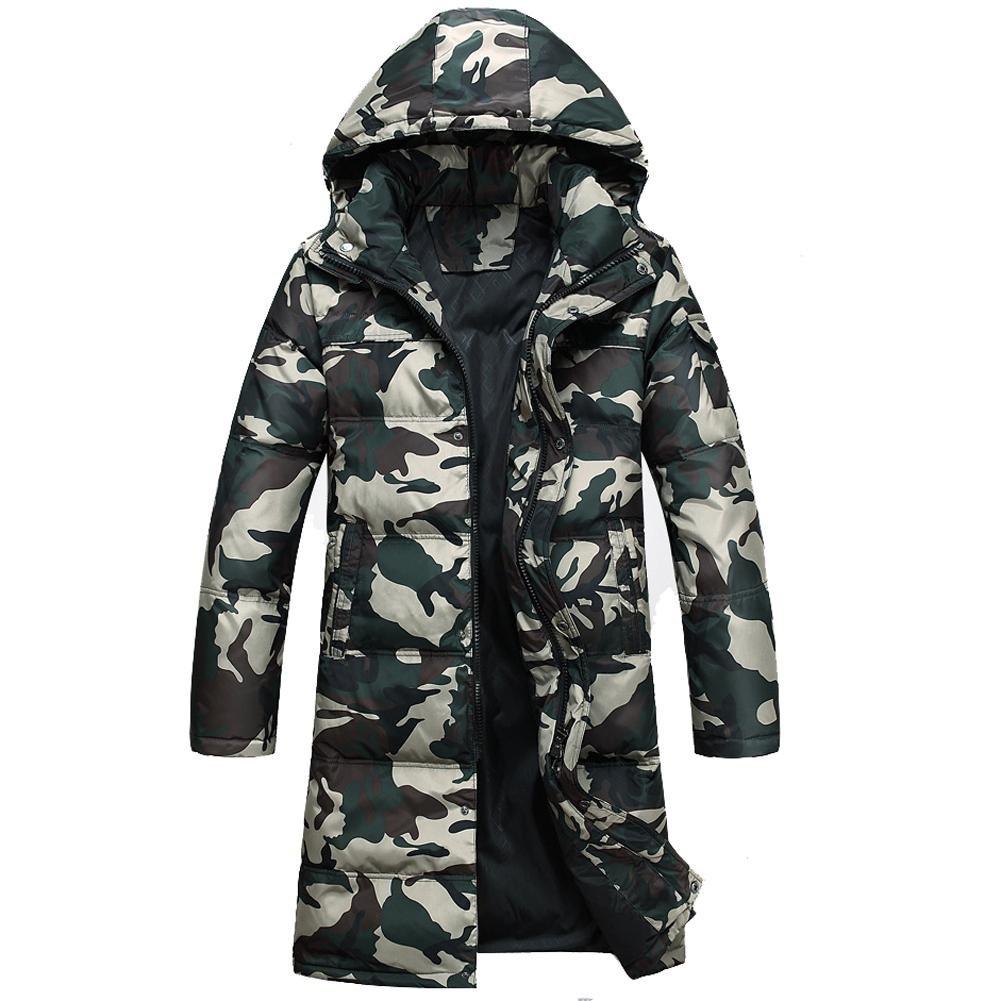 Wgwioo Down jacket männer daunenmäntel mit Kapuze reißverschluss Seitentasche warm halten Lange Dicker Jacke Parka größe m-XXXL