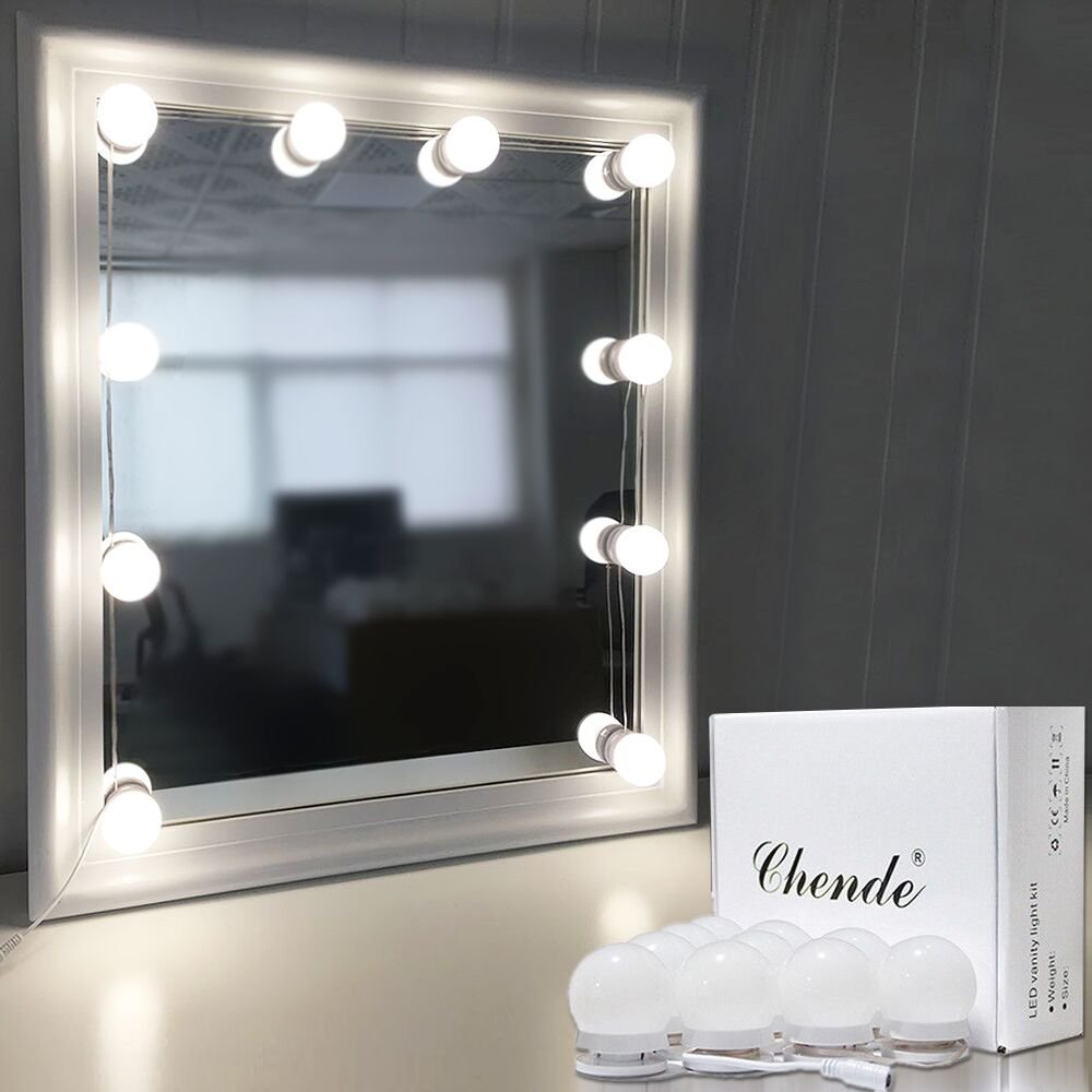 Chende Hollywood Style LED Vanity Mirror Lights Kit with Dimmable Light Bulbs, Lighting Fixture Strip for Makeup Vanity Table Set in Dressing Room (10 Light Bulbs)