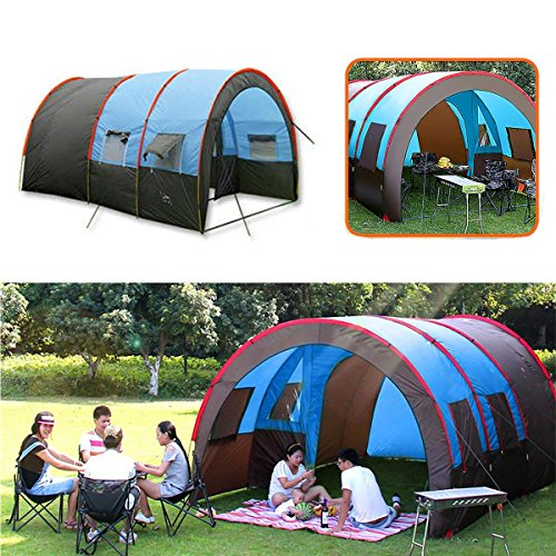 Price comparison product image Camping Tent Waterproof - Camping Tent Tunnel - XD-ET4 Camping Tent 8-10 People Waterproof Double Layer Large Family Tent Sunshade (Large Tunnel Tent)