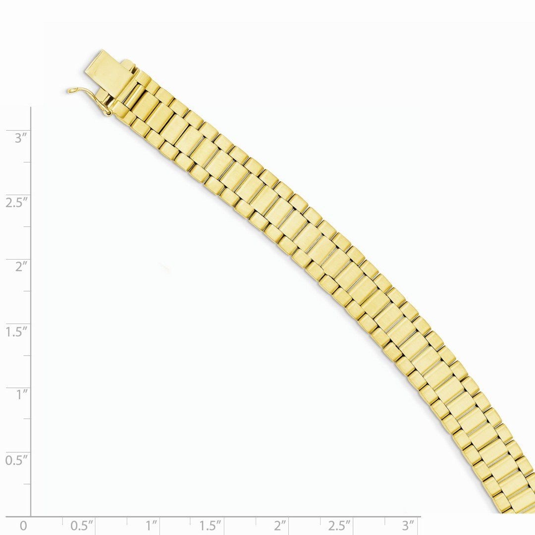 ICE CARATS 14k Yellow Gold Mens Bracelet 8 Inch H Link Man Men Fine Jewelry Dad Mens Gift Set by ICE CARATS (Image #3)