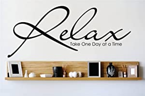 Design with Vinyl OMG A 653 Relax Take One Day at A Time Quote Home Living Room Bedroom Decor Wall Sticker Decal, 8