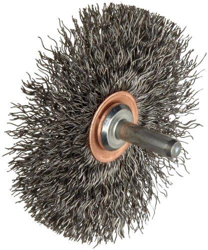 "Weiler Narrow Face Wire Wheel Conflex Brush, Round Shank, Steel, Crimped Wire, 3"" Diameter, 0.014"" Wire Diameter, 1/4"" Shank, 1"" Bristle Length, 1/2"" Brush Face Width, 20000 rpm from Weiler"