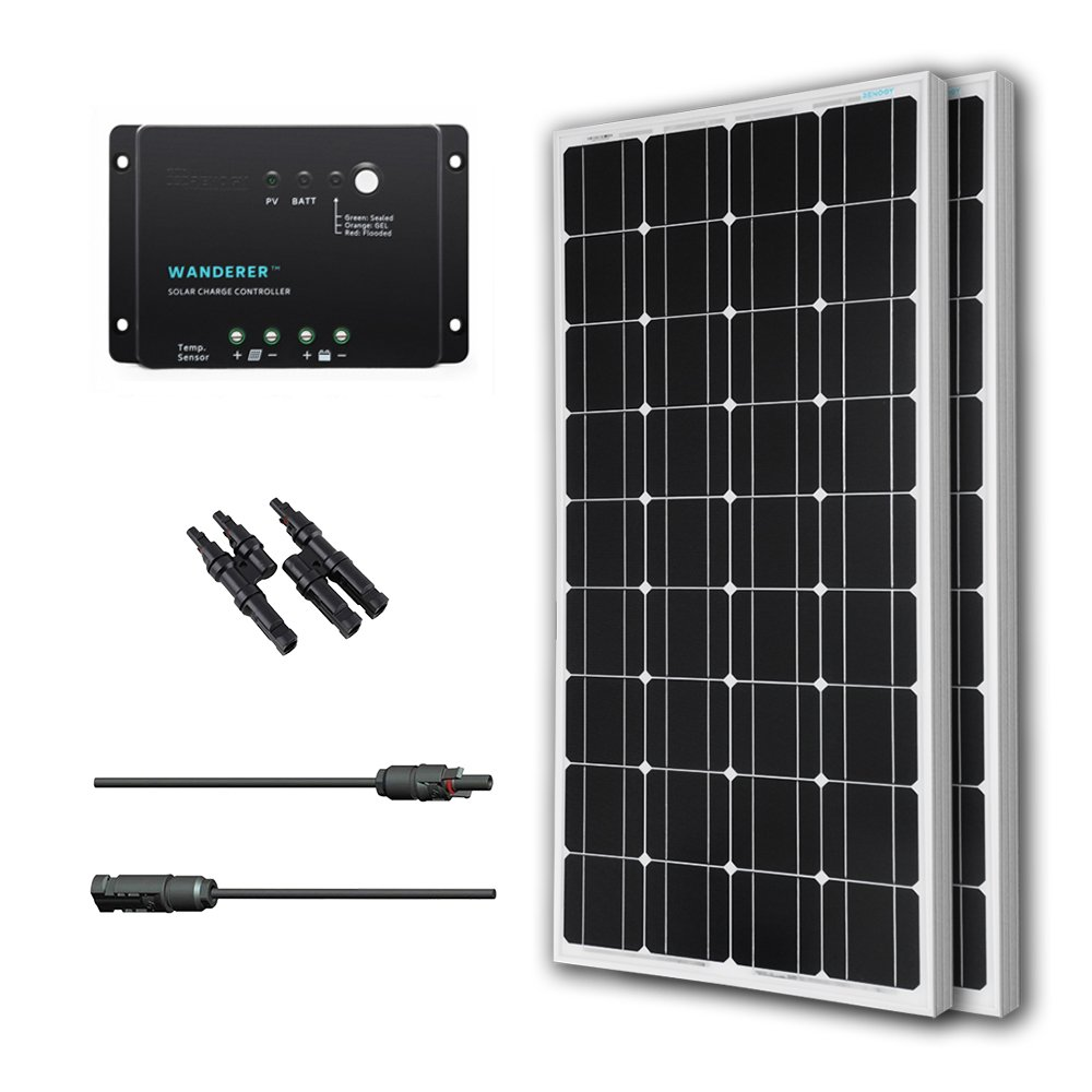 Amazon.com : Renogy 200 Watts 12 Volts Monocrystalline Solar Bundle Kit w/  100w Solar Panel, 30A Charge Controller, 9in MC4 Adaptor Kit, A pair of  Branch ...