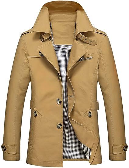 Mochoose Homme Trench Coton Veste Classique Col à Revers