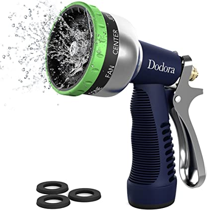 Hose Spray Nozzle >> Dodora Garden Hose Nozzle Spray Nozzle Heavy Duty Metal Hand Hose Sprayer High Pressure With 9 Adjustable Patterns For Watering Plants Cleaning Car